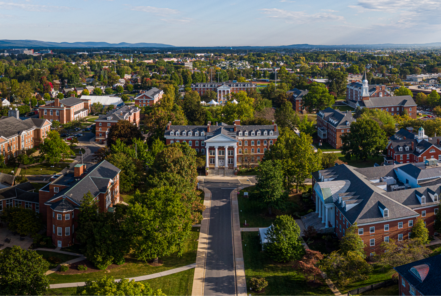 A aerial view of the Hood College campus, with Alumnae Hall in the center of it all