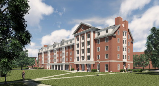 Rendering of new residence hall during the day