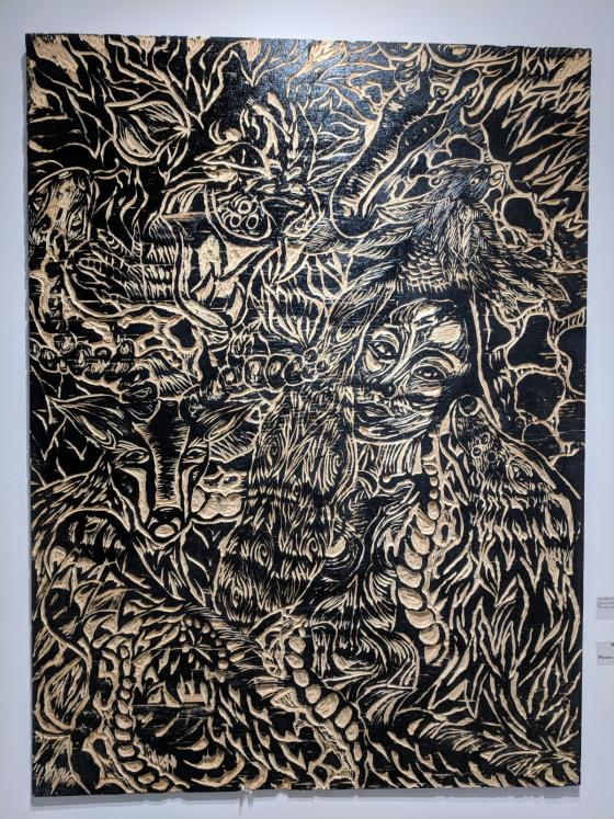 Claudia Tisdale, Queen of the Animals, 2019. Woodcut plate.