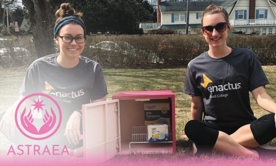 Mackenzie Clark ('20) and Delanie Diverio ('19) with the first pink box