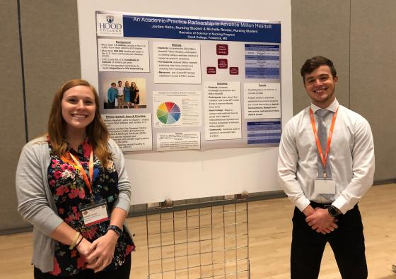Nursing students Revesz and Hahn with their poster.