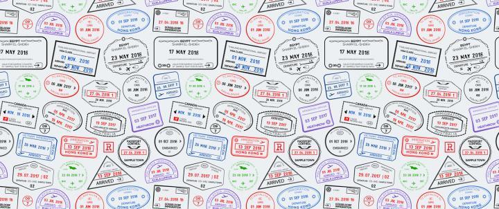 Photo of passport stamps
