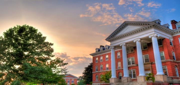 Alumnae Hall at sunset