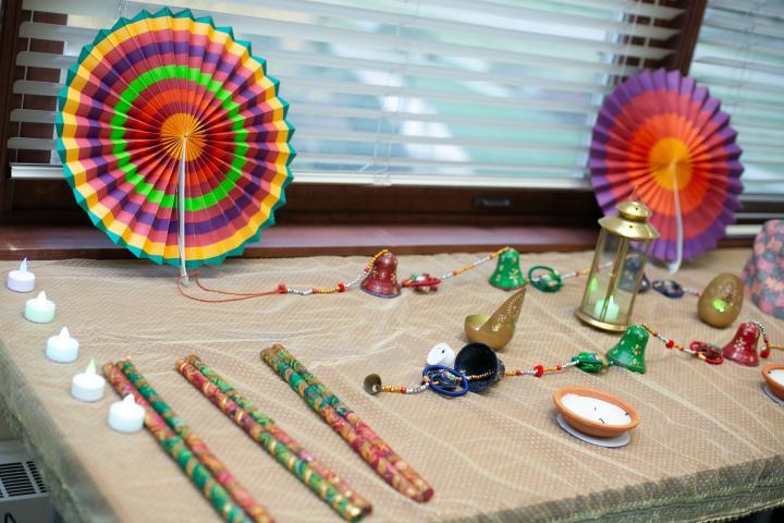 Table Showing Diwali Paraphenalia