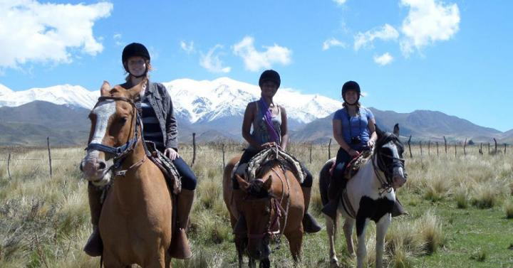 Students horseback riding in Argentina