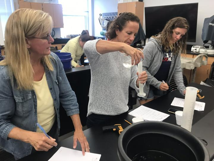 Teachers conducting the Water Temperature Mixing Lab