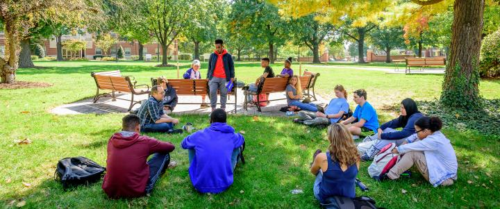students in outdoor classroom