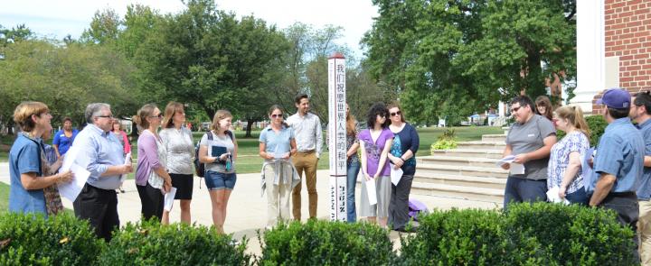 Peace pole dedication ceremony.